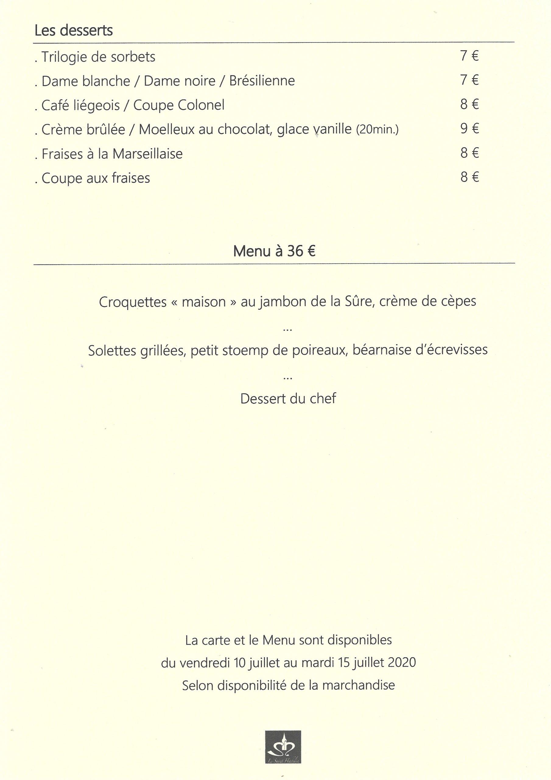 Menu restaurant le Saint Hadelin